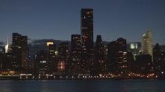 Panoramic view Manhattan skyscraper twilight New York City skyline landmark icon Stock Footage
