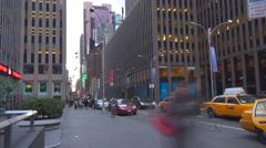 Timelapse Traffic people Manhattan avenue skyscraper pedestrian sidewalk icon  Stock Footage