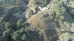 Aerial Footage Thick Vegetation Flood Control Dams Stock Footage