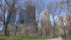 Central Park spring season New York City American landmark people relax enjoy US Stock Footage