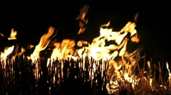 4K Fire flame isolated on black background. UHD stock video - stock footage