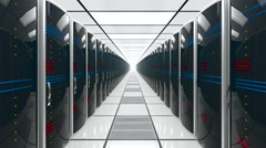 Modern interior of server room in datacenter, repeatly move Stock Footage