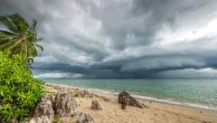 4K TimeLapse - Rapidly looming thunderstorm storm on the beach Stock Footage