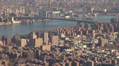 Beautiful panorama New York City suburban area Brooklyn Bridge sunset emblem USA Stock Footage