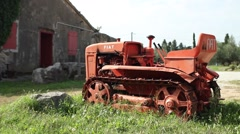 Old faming machine in the countryside Stock Footage