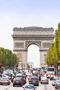 The Champs-Élysées and the Arc de Triomphe Stock Photos