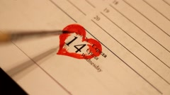 Valentine's Day  on the calendar Stock Footage