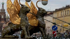 Griffins guard the St. Petersburg - stock footage