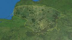 Lithuania, glide over the map, outlined Stock Footage