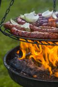 Roasting sausages with onions on fire in the garden Stock Photos