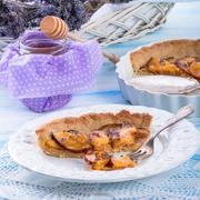 Nectarine tarte with lavender and honey - stock photo