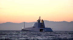 "The ""A"" Mega Yacht Owned by Russian Billionaire Andrey Melnichenko at Sunset #1 - stock footage"