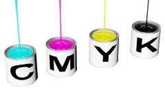 Cans with cmyk ink Stock Illustration