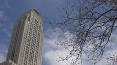 Beautiful Empire State building blue sky New York City Manhattan landmark iconic Stock Footage