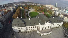 Camera flying above presidential palace in Bratislava Stock Footage