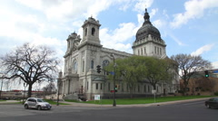 Basilica of Saint Mary in Minneapolis, MN in the morning Stock Footage