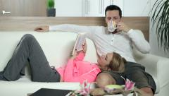 Couple spending spare time in a living room. Stock Footage