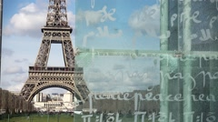 Time lapse Eiffel tower peace monument see through - 60fps Stock Footage