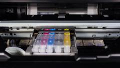 Printer head moving left and right. Stock Footage