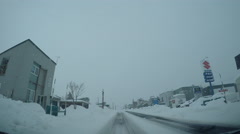 Driving In Dangerous Snow Winter Conditions Stock Footage