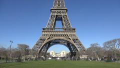 Eiffel Tower Champ de Mars tilt down - 60fps Stock Footage
