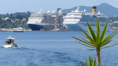 Cruise ships at sea Stock Footage