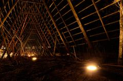 Deep beautiful stockfish structure at night time in the arctic circle Stock Photos