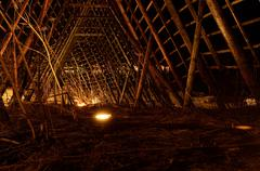 deep beautiful stockfish structure at night time in the arctic circle - stock photo