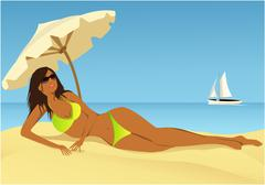 Summer background with beautiful woman Stock Illustration