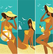 Summer banners with beautiful woman Stock Illustration