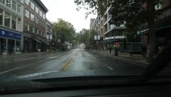 Driving west on West Hastings Street. Rainy day in Vancouver, BC. - stock footage