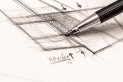 Drawing Crosshatch On Paper Stock Photos