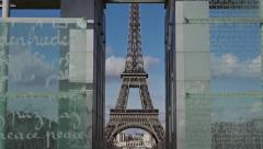Eiffel tower zoom out through Wall For Peace - 60fps Stock Footage