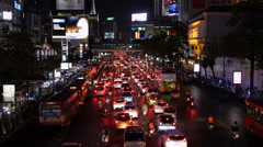 Rush Hour Traffic Jam on Busy Street in Bangkok, Thailand Stock Footage