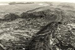 Aerial view of the Mountainous Terrain Stock Photos