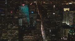 Aerial view New York City skyscraper traffic street busy avenue Manhattan emblem Stock Footage
