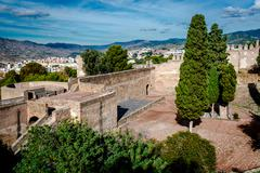 Courtyard of a Gibralfaro fortress (Alcazaba de Malaga) - stock photo