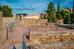 Gibralfaro fortress (Alcazaba de Malaga). Malaga city. Spain - stock photo