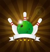 Bowling ball with skittles and white label - stock illustration