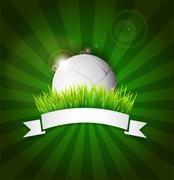 Volleyball ball on field grass with white ribbon and lights effect Piirros
