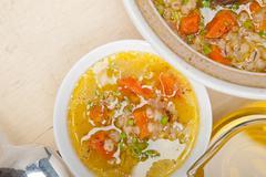 Syrian barley broth soup Aleppo style Stock Photos