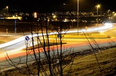 Stock Photo of car traffic on road at night creates beautiful shapes, lights and mood