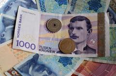 Norwegian paper money currency Stock Photos