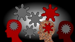 Gears rotate inside the brain power of teamwork, animation Stock Footage