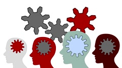 Gears rotate inside the brain power of teamwork on white background, animation - stock footage