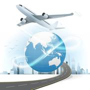 Travel and transport concept with Asia world map Stock Illustration