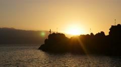 Cliff dive at sunset,Kaanapali Beach, Maui, Hawaii Stock Footage