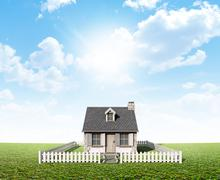 Cottage On Green Lawn - stock illustration