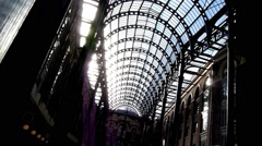 Interior shot of Hay's Galleria on the South Bank of the River Thames in London  Stock Footage