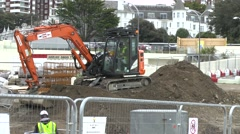 Construction Building Site Digger Excavator - stock footage